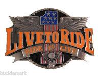 3D Live To Ride Biker Belt Buckle wings
