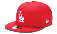 NEW ERA 59FIFTY FITTED HAT.  MLB LOS ANGELES DODGERS.  RED.