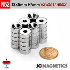 12mm X 5mm Hole 4mm 12x316 N52 Strong Countersunk Ring Rare Earth Magnet