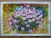 PANSIES FLOWERS ORIGINAL OIL STRETCHED PAINTING ART BY ARTIST