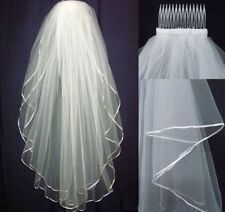 White Bridal Wedding Veil 2 Tier Elbow Length with Comb Handmade