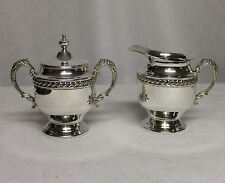 Antique Silver Creamer & Sugar with Lid (Silver on Copper)
