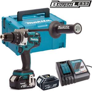 Makita DHP481Z 18v Combi Hammer Drill With 2 x 5.0Ah BL1850, DC18RC & Mak Case
