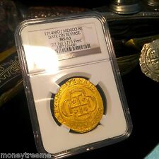 "MEXICO 1715 FLEET SHIPWRECK ""ROYAL LIKE"" 8 ESCUDOS 1714 ""DATE ON REVERSE"" NGC 63"