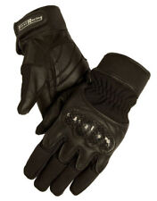 First MFG Men's Gel Padded Textile and Leather Racing Gloves Black FR109GL