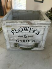 Flowers And Garden Wood Plant Pot Holder Drawer Metal Handle Whitewash Planter