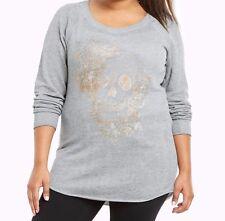 Torrid Metallic Skull Tunic Sweatshirt Gray 00 10 00X #77830