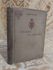 1895 Specimens of Narration Chosen by William Brewster Antique Book Literature