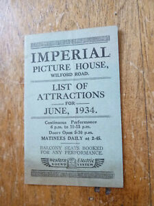 NOTTINGHAM WILFORD RD PICTURE HOUSE / CINEMA LIST OF ATTRACTIONS 1934 SOME WEAR