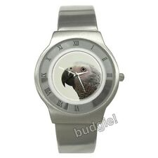 AFRICAN GREY Parrot Stainless Steel Analog Dress Watch Parrots Greys