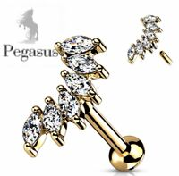 Gold large Marquise fan cz Cartilage Helix Tragus Bar Barbell Earring Stud