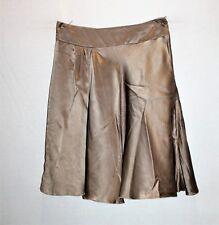 Babe Brand Golden Khaki 100% Silk Front Pleat Skirt Size 8 LIKE NEW #SJ20