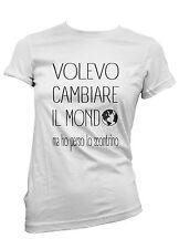 T-SHIRT donna CAMBIARE IL MONDO SCONTRINO  maglietta 100% cotone funny moda