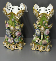 PAIR antique 1880 JACOB PETIT Marked Porcelain majolica floral vases rare
