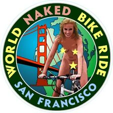 Naked Bike Road Vinyl Window Sticker 10cm cycling nudity humour self cling car