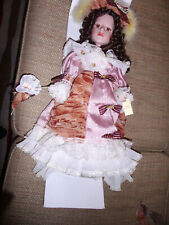 Collector Porcelain Vintage Doll, 21 Inches, , Dark Hair Lace, Ruffles, Pearls