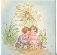 VINTAGE GIRL SPRITE DAISY FLOWER FACE 1 BEAGLE PUPPY DOG BLUE WHITE PITCHER CARD