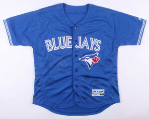 Toronto Blue Jays Majestic MLB Jersey Signed by (13) with Devon White, 12 others