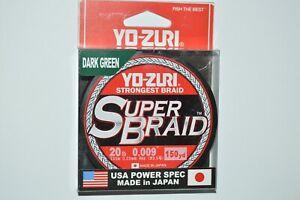 yo zuri super braid pe line superbraid 20lb 150yds dark green made in Japan