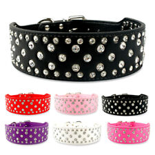Bling Rhinestone Dog Collar Adjustable for Small Large Breeds Bulldog Rottweiler