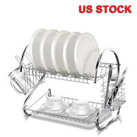 2-Tier Multi-function Stainless Steel Dish Drying Rack Cup Drainer Strainer