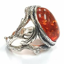 ART NOUVEAU STYLE HONEY AMBER NATURALISTIC RING 925 STERLING SILVER SIZE  8