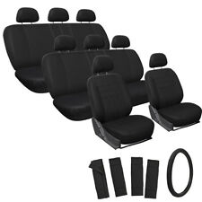 25pc Full Set Solid Seat Cover For SUVs w/Steering Wheel Belt Pads Head Rests