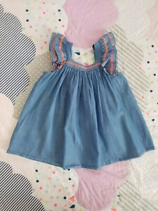COUNTRY ROAD Sz 1 12-18 months blue chambray flutter sl dress NWT