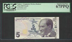Turkey 5 Lira 2009 P222b Uncirculated Graded 67