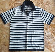 STRUCTURE Men's Medium M Blue / Black Striped Polo Shirt 100% cotton SS