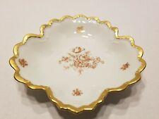 Vintage Limoges Lucien Michelaud Leaf Shaped Porcelain Candy Nut Dish Gold Trim