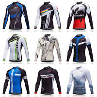 Winter Thermal Bicycle Jersey Top Men's Fleece Cycling Long Sleeve Jersey S-5XL