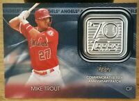 2021 Topps Series 1 MIKE TROUT Rare Blue Commemorative 70th Anniversary Patch