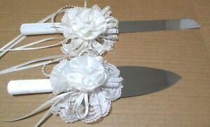 NEW VTG Wedding Cake Server & Knife Set Pearlescent Handles Stainless PRETTY!