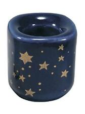 """One Blue Celestial Ceramic Candle Holders for 4"""" Mini Taper Chime Candles"""