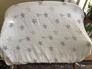 Aden and Anais 100% Cotton Muslin Green Stars Fitted Crib Sheet