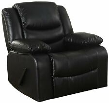 Classic Bonded Leather Upholstered Rocker Recliner Living Room Chair in Black