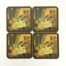 Pimpernel Coasters Cork Backing Tangerines Stamps Postcard Set Of 4
