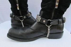 Men Big Iron Cross Silver Metal Boot Chain Pair Black Biker Straps Shoe Bracelet