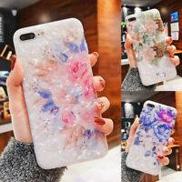For iPhone XS Max XR 6s 7 8 Plus X Marble Flower Case Cover Soft TPU Back Shell