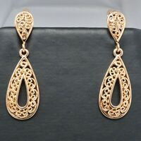 Hand Carved Drop/Dangle Earrings Women Birthday Jewelry 14K Rose Gold Plated