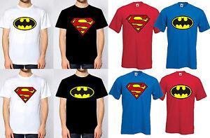 Batman & Superman T-Shirt Cotton Black Royal Red White Tee Shirt New Lot