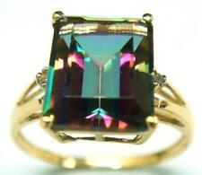 BESTJEWELLERY 10KT YELLOW GOLD OCTAGON MYSTIC TOPAZ & DIAMOND RING SIZE 7 R917