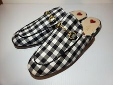Gucci 40 US 10 Princetown Gingham White Black White Horsebit Loafer Slip-on
