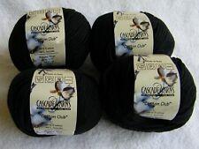 "4 Skein Lot Cascade ""Cotton Club"" Cotton Acrylic Blend Aran Weight Black Yarn"