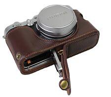 Real Leather Half Camera Case Bag Cover for Fuji Fujifilm x100f  X100 F Coffee