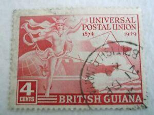 1949 British Guiana 75th Anniv.of U.P.U. used Mi.194 4c Carmine . C87