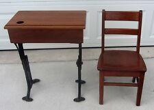 Vintage 1897 Cast Iron CHANDLER The Boston Oak Childs School Deck &  Chair