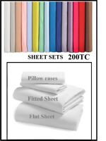"4' 6"" DOUBLE SHEET SET Over 20 Colours 200TC (4 Piece)  200 THREAD COUNT"