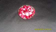Vintage Monte Dunlavy Stamped Pink Maroon Flat Art Glass Paperweight